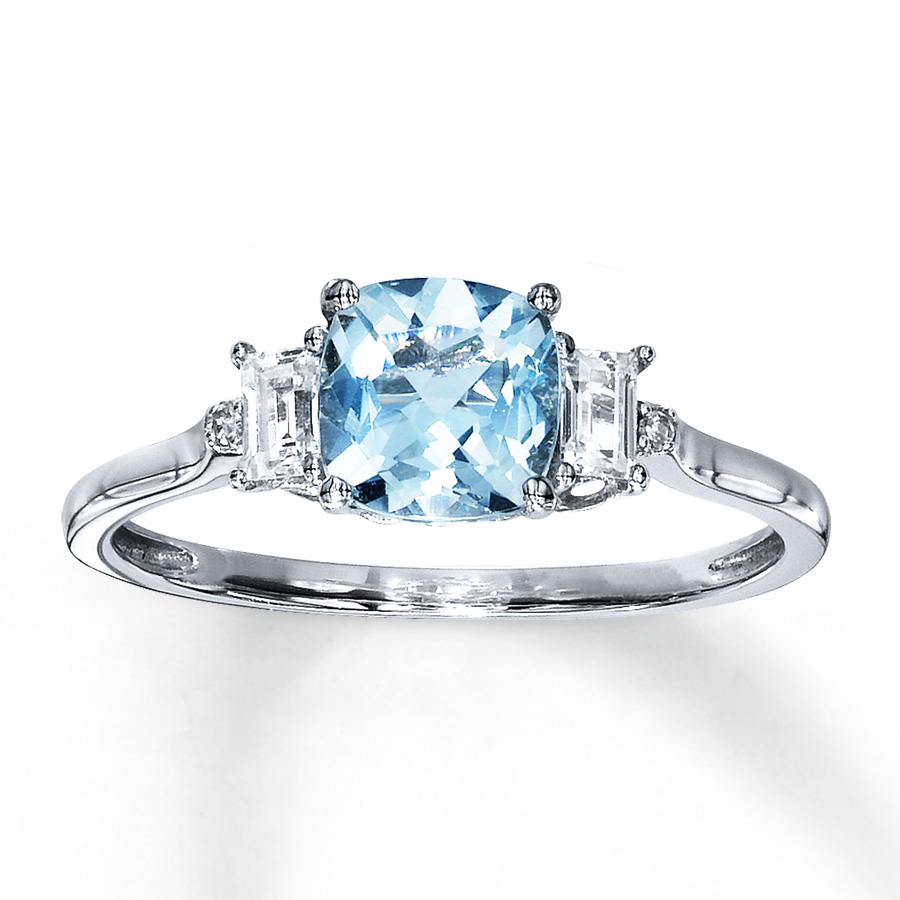 Wedding Ring With Aquamarine Accents