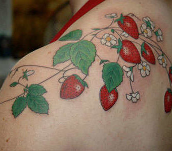 Strawberries Tattoos for women