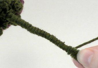 crochet rose and stem