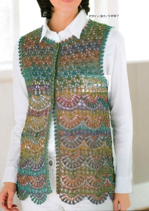 Woolen Crochet : Men?s Swish Crochet Vest Painted Wool Vest Crochet Pattern