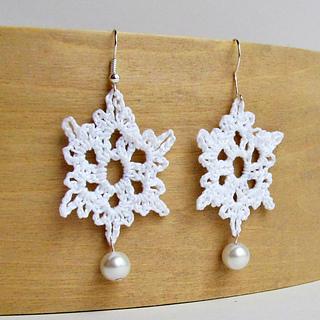 free crochet snowflake earring pattern