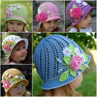 crochet rose for hat