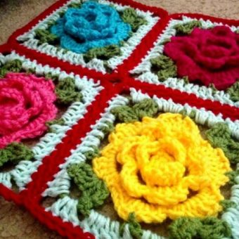 how to crochet a rose granny square