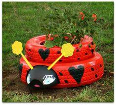 ladybugtire planters