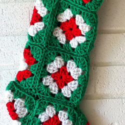 Crochet Granny Square Christmas Stocking