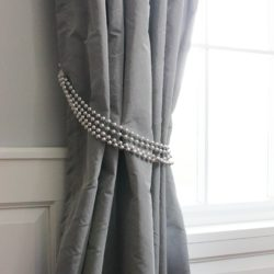 Grey Curtain Tie Back Without Hook