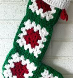 crochet christmas stocking granny squares