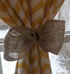 Burlap Curtain Tie Back That Doesn't Attach To Wall