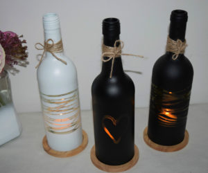 Wedding Wine Bottle Candle Holder Centerpiece