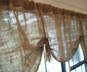 burlap coffee bag valance