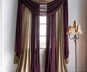 burlap waterfall valance