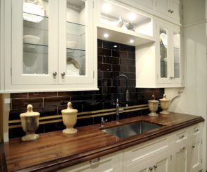 wooden countertops in kitchen
