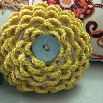 crochet rose cushion