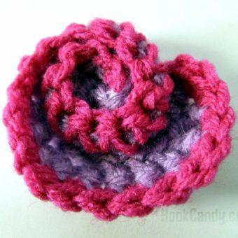 crochet rose heart
