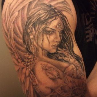 angel tattoosinner bicep