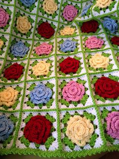 crochet rose afghan squares