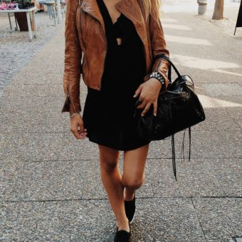 brown-leather jacket and black shoes