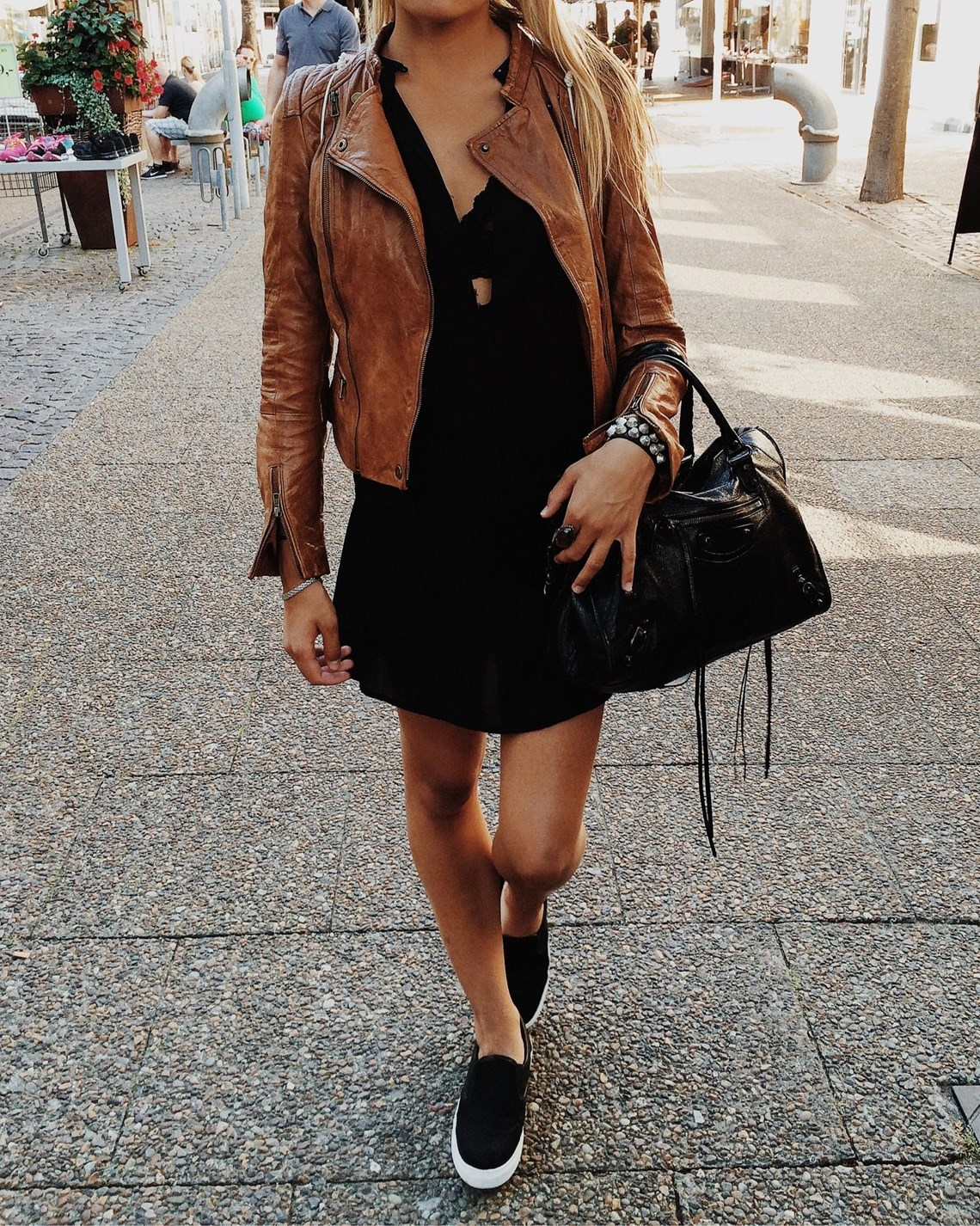 brown leather jacket and black shoes patterns hub