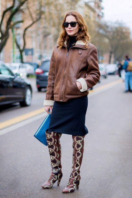brown leather jacket and boots