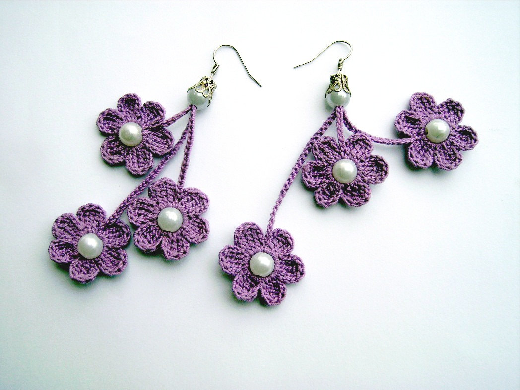 Crochet Stitches Jewelry : Crochet Earring Patterns Patterns Hub