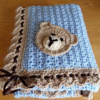 free crochet teddy bear pattern on a baby blanket