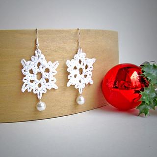 crochet snowflake earrings free pattern