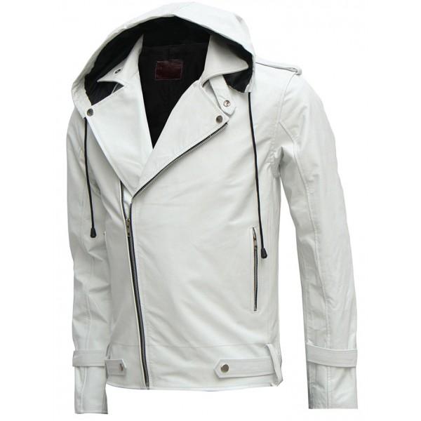 White Leather Hooded Jacket Patterns Hub