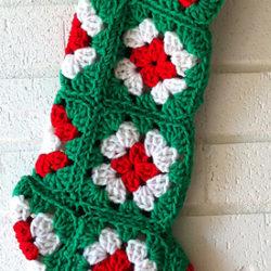 Crochet Granny Square Christmas Stocking