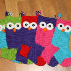 Crochet Owl Christmas Stocking Pattern