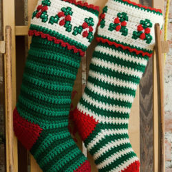 crochet striped christmas stocking