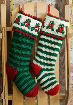 crochet striped christmas stocking