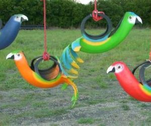 recycled tire bird planters