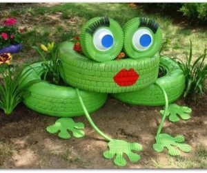 Tire Planters Frog
