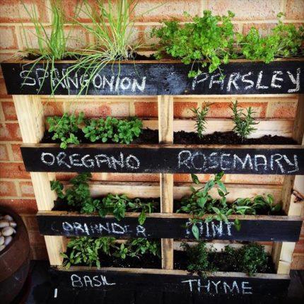wooden pallet herb planter