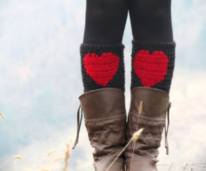 red heart yarn crochet boot cuffs