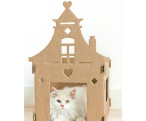cardboard playhouse cats