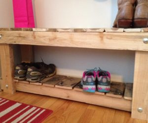 shoe rack from a pallet