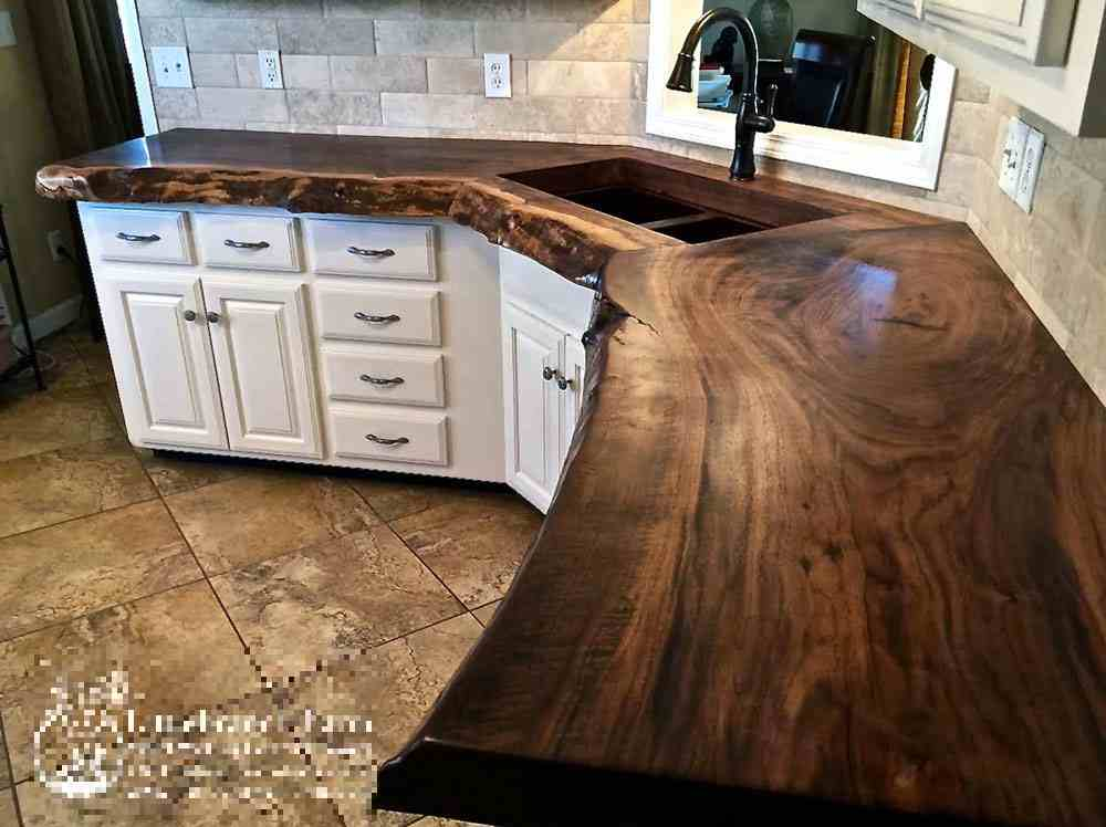 20 ideas for installing a wooden countertop at your home for Natural edge wood countertops