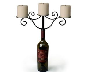 metal wine bottle candle holders