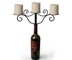 metalwine bottle candle holders