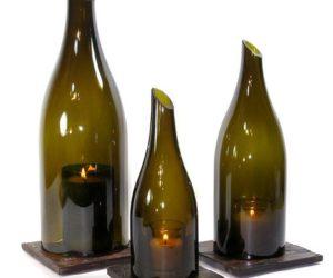 Cut Wine Bottle Candle Holder