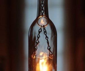 glass wine bottle candle holders