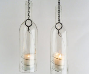 Hanging Wine Bottle Candle Holders
