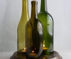 cut wine bottle candle holders