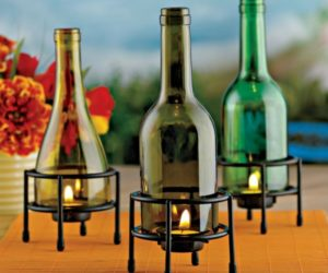 Homemade Wine Bottle Candle Holder