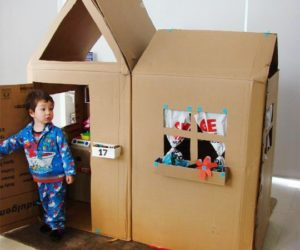 Colored Cardboard Cottage Playhouse