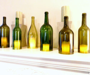 wine bottle votive candle holders