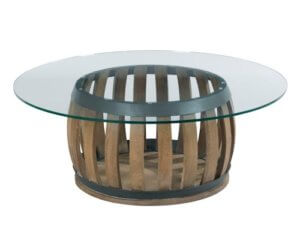Glass Top Barrel Coffee Table