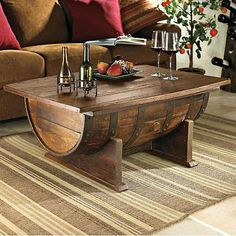 Vintage Oak Barrel Table