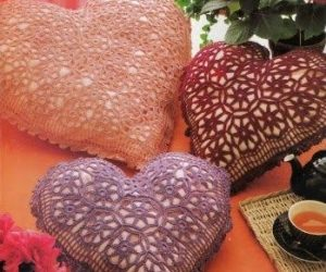 crochet heart pillow pattern free